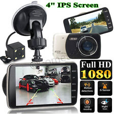 "4"" Car Dash Dashboard Video Dual Lens Camera 1080p HD DVR IPS Recorder G-Sensor"