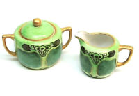 VTG Noritake Morimura CREAMER & SUGAR BOWL + LID Handpainted Green Gold JAPAN!
