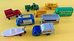Lot of 9 Vintage Matchbox Lesney Work Vehicles, Canteen, Boat, Refuse, Van....