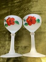 Vintage 2 Frosted Wines Glasses With Handpainted Red Rose