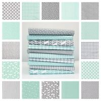Grey & Mint 100% COTTON fabric by the metre GEOMETRIC Clouds Stars Dots OEKO-TEX
