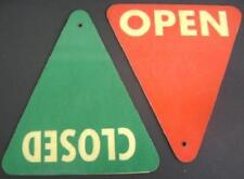 VINTAGE SIGN PAIR OPEN CLOSED INDUSTRIAL EQUIPMENT DOUBLE SIDED SIGNS STEAMPUNK