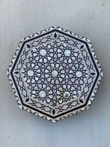 Mother Of Pearl Handmade Egyptian Wood Octagonal Table - Brown Distressed