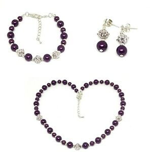Glass pearl necklace, earrings and bracelet jewellery set