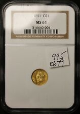 1851 Gold Dollar.  IN NGC Holder.  MS 64   e679