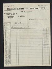 """MELAY (52) Constructeur de MACHINES OUTILS pour travail BOIS """"G. MOUGEOTTE"""" 1949"""