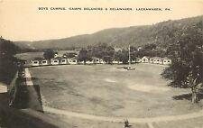 Vintage Lithographed PC; Boys Campus. Camps Delanore & Delwaxen, Lackawaxen, PA