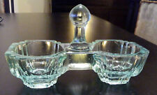ANTIQUE ( Pre 1930 )  BLUE CRYSTAL GLASS MINI SALTERN