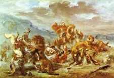Eugene Delacroix Lion Hunt A4 Print