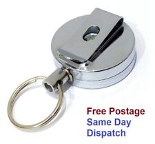 Black Recoil Retractable Key Chain Ring with Belt Clip