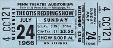 OTIS REDDING / SAM & DAVE 1966 TOUR UNUSED PITTSBURGH, PA. CONCERT TICKET / NMT