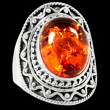 Amber 925 Sterling Silver Ring Jewelry s.9 RR82672