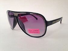 New Authentic Betsey Johnson Shield Aviator Sunglasses Black Silver Light Purple