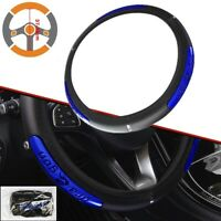 PU Leather Car Steering Wheel Cover Anti-slip Protector Fit 38cm Black Blue New
