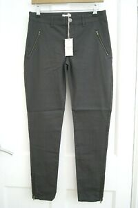 NEW Ladies Women White Stuff CASUAL COTTON FEEL ANKLE ZIP TROUSERS Size 10 GREY