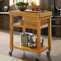 Rolling Bamboo Wood Kitchen Island Cart Trolley, w/ Towel Rack Drawer Shelves
