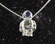 STUNNING SILVER SPACEMAN NECKLACE WITH REAL METEORITE