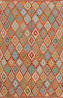 Diamond Reversible Geometric Kilim Oriental Area Rug Hand-woven Wool Carpet 5x6