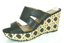Nine West Shoes Sz 10 Sandals Wedge Heels Platforms Black Beige Slides Strappy