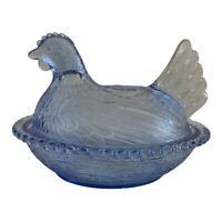 Vintage Indiana Glass Light Blue Chicken Hen on Nest Covered Dish, Excellent