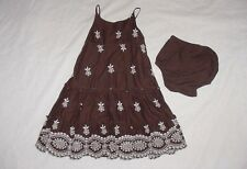 EUC Baby GAP Girls Brown & Ivory Floral Tiered Maxi Dress 18-24 M