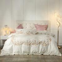 4pcs. Embroidery Bedding Set Duvet Set Flat Sheet Wedding Pima Cotton Pillowcase