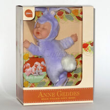 ANNE GEDDES DOLLS 'BEAN FILLED' collection NEW in Box BABY PURPLE BUNNY Doll 9''