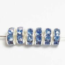 6pcs Blue Rhinestone Rondelle Beads Silver Plated Metal Spacers 5x2mm B27856