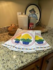Vintage Kitchen Tea Towels, White with Red Border, Yellow Flowers, Polka Dots