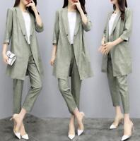 Gray Womens Leisure Blazer Jacket  Pants 2pcs Linen Blend Suits Summer Size