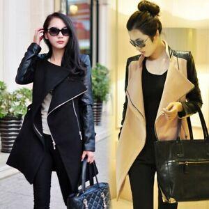 New Women Wool Faux leather sleeve Coat Long jacket trench parkas outwear Collar
