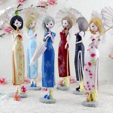 Cheongsam Dress Lady Girl Figurine Statue Resin Craft Desktop Ornament Decor