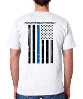 BLUE LIVES MATTER T-Shirt - Thin Blue Line Flag - White S-3XL , Police USA Army