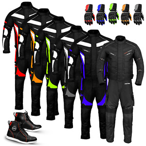 Men Motorcycle Suits Motorbike Leather Boots Racing Set Bike Riding Gloves Armor