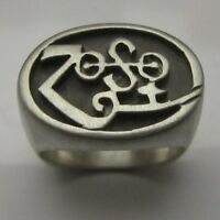 MJG STERLING SILVER OVAL TOP ZOSO RING. JIMMY PAGE. LED ZEPPELIN. SZ 10