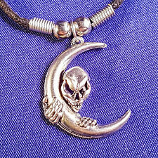 alien moon crescent pendant on Black wax cord Choker necklace