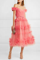 $845 NEW Marchesa Notte Off Shoulder 3 D Tulle Cocktail Dress Coral 0 2 4 6 8 12