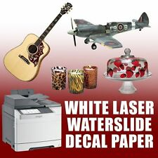 "LASER waterslide decal paper WHITE 20 sheets 8.5"" X 11"""