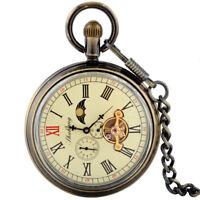 Antique Mechanical Pocket Watch Windup Moon Phase Tourbillon Luxury Mens Gift