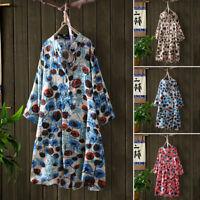 ZANZEA Women Short Sleeve Button Floral Printed Shirt Pullover Summer Mini Dress