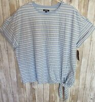 Chaps Women's 3XL Blue White Striped Tie Knot at Hem Off Shoulder Tee Top New