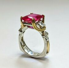 Sterling Silver and 18Kt  Two Tone Ruby Ring with Accent Princess Cuts Size 6