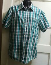 Cherokee Green White Plaid Button Down Shirt Men L Short Sleeves 100% Cotton.
