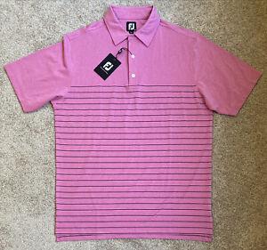 Mens Size Medium Footjoy Polo Golf Shirt Pink Striped Short Sleeve