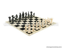 "VIKING Chess Set - Chess Board B/W- Size 17,3"" + Roman Chess Pieces 3,75"" B/W"