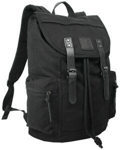 Canvas Rucksack Groß Retro Daypack Laptopfach 15` und Echt-Lederbesatz schwarz