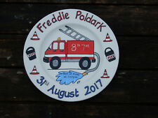 Baby birth christening personalised painted gift plate fire engine design