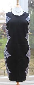 LADIES MONSOON CONTOUR DRESS BLACK GREY PURPLE SIZE 14 BNWT RRP £99 CASSIA