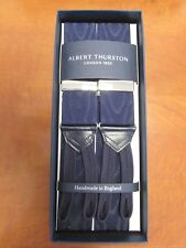 ALBERT THURSTON NAVY MOIRE BRACES ONE SIZE (MULTIFIT) SILVER FITTINGS NEW COLOUR