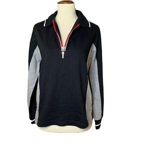 NWT Vtg ERIKA Activewear 1/4 Zip Top Yoga Spirit Black Gray Red Petite Small